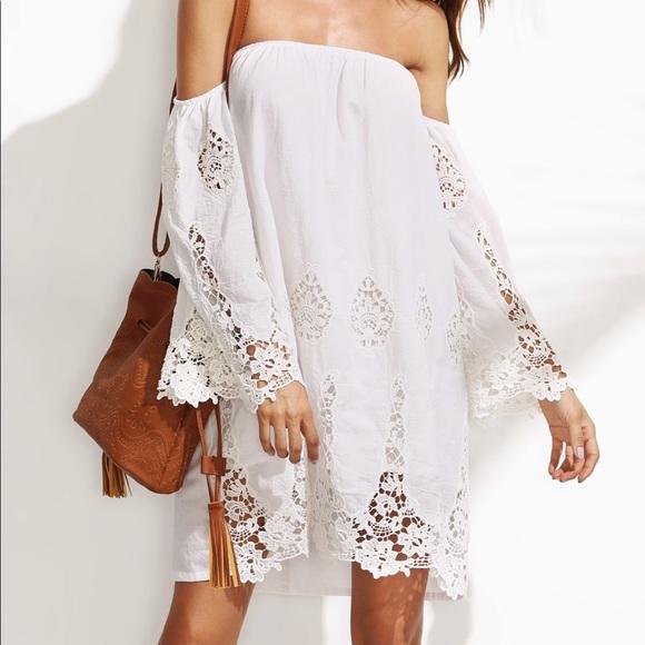 ddd56b940aac White lace crochet off shoulder beach dress